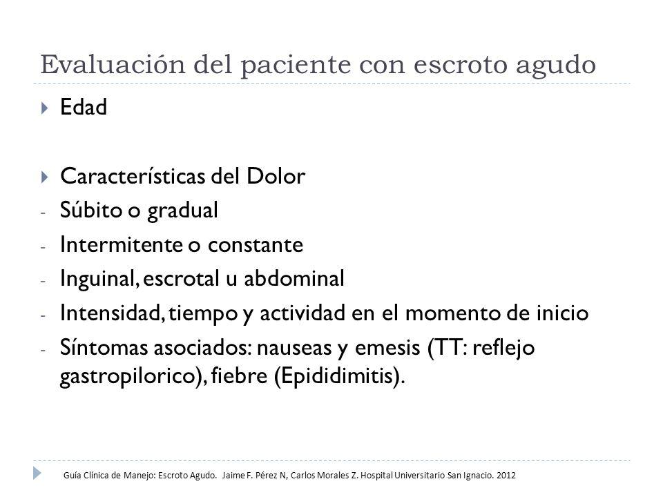 Evaluación del paciente con escroto agudo  Edad  Características del Dolor - Súbito o gradual - Intermitente o constante - Inguinal, escrotal u abdo