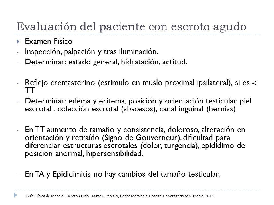 Evaluación del paciente con escroto agudo  Examen Físico - Inspección, palpación y tras iluminación. - Determinar; estado general, hidratación, actit