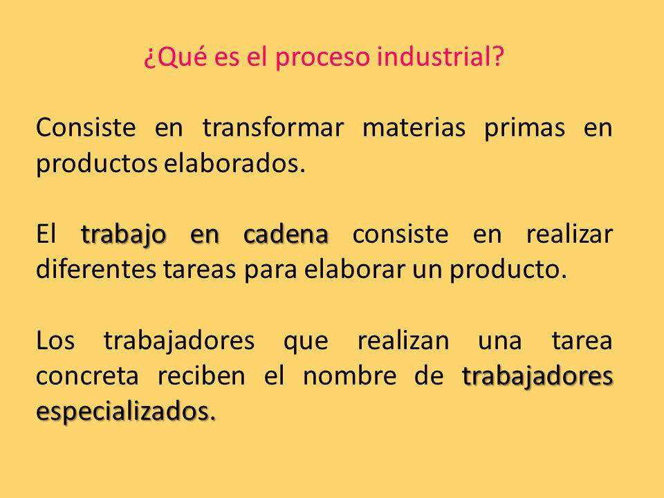 ¿Qué es el proceso industrial. Consiste en transformar materias primas en productos elaborados.