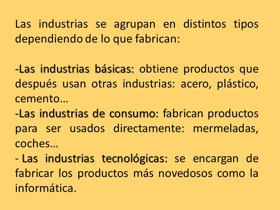 Las industrias se agrupan en distintos tipos dependiendo de lo que fabrican: -Las industrias básicas: -Las industrias básicas: obtiene productos que después usan otras industrias: acero, plástico, cemento… -Las industrias de consumo: -Las industrias de consumo: fabrican productos para ser usados directamente: mermeladas, coches… Las industrias tecnológicas: - Las industrias tecnológicas: se encargan de fabricar los productos más novedosos como la informática.