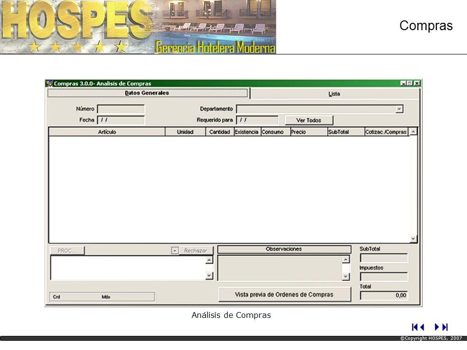 Análisis de Compras Compras ©Copyright HOSPES, 2007