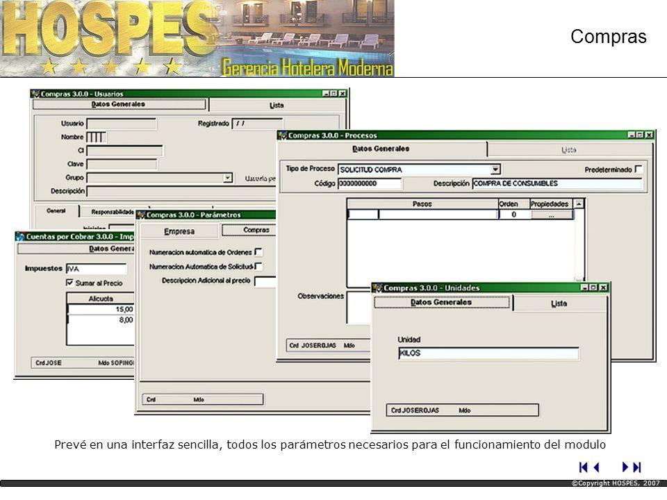 Prevé en una interfaz sencilla, todos los parámetros necesarios para el funcionamiento del modulo Compras ©Copyright HOSPES, 2007