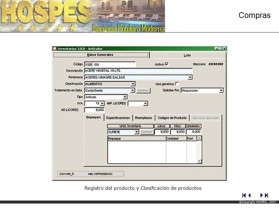 Reporte de Grupos de Artículos (Vista Parcial) Compras ©Copyright HOSPES, 2007