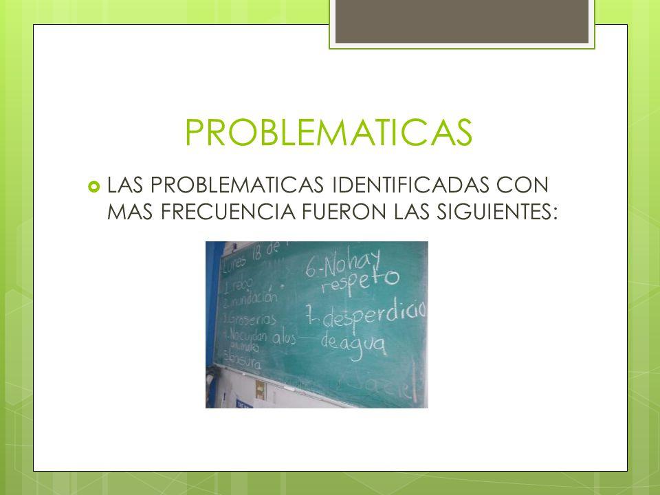 PROBLEMATICAS  LAS PROBLEMATICAS IDENTIFICADAS CON MAS FRECUENCIA FUERON LAS SIGUIENTES:
