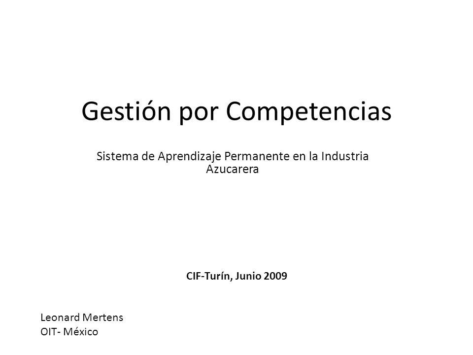 Gestión por Competencias Sistema de Aprendizaje Permanente en la Industria Azucarera Leonard Mertens OIT- México CIF-Turín, Junio 2009