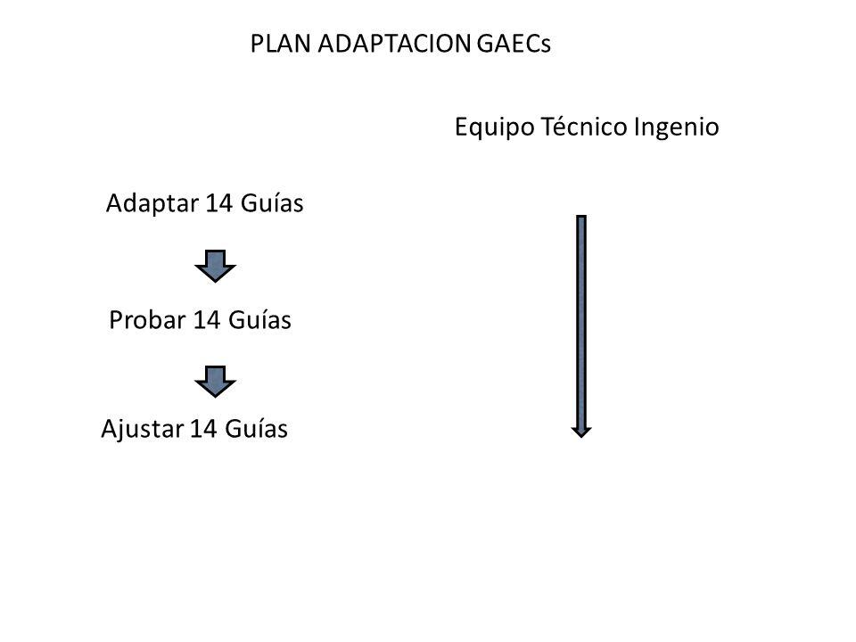 PLAN ADAPTACION GAECs Adaptar 14 Guías Probar 14 Guías Ajustar 14 Guías Equipo Técnico Ingenio
