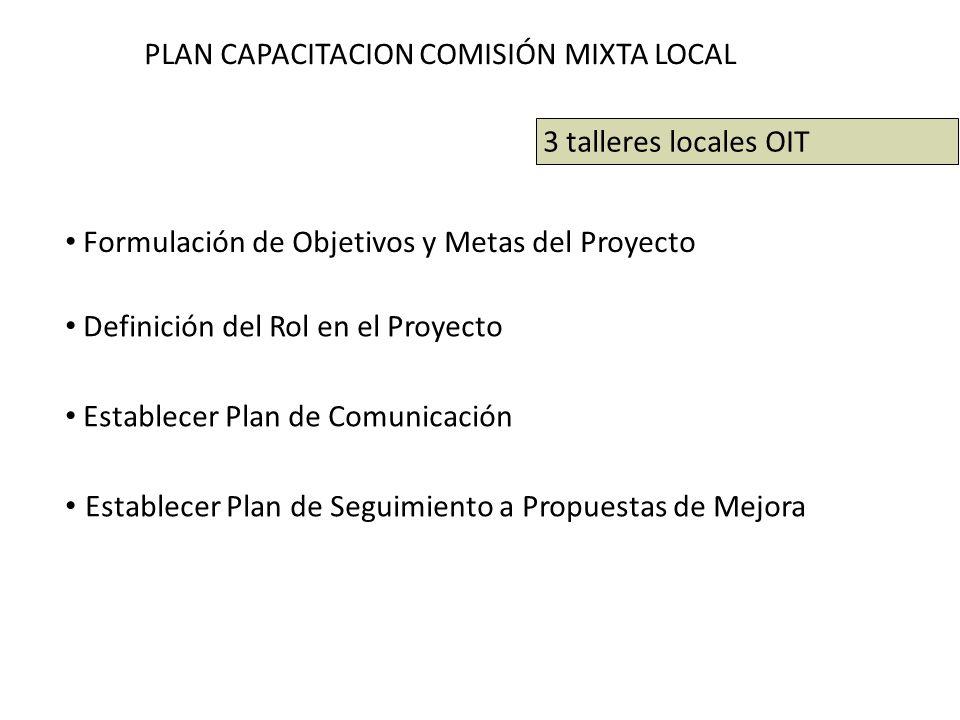 PLAN CAPACITACION COMISIÓN MIXTA LOCAL Formulación de Objetivos y Metas del Proyecto Definición del Rol en el Proyecto Establecer Plan de Comunicación Establecer Plan de Seguimiento a Propuestas de Mejora 3 talleres locales OIT