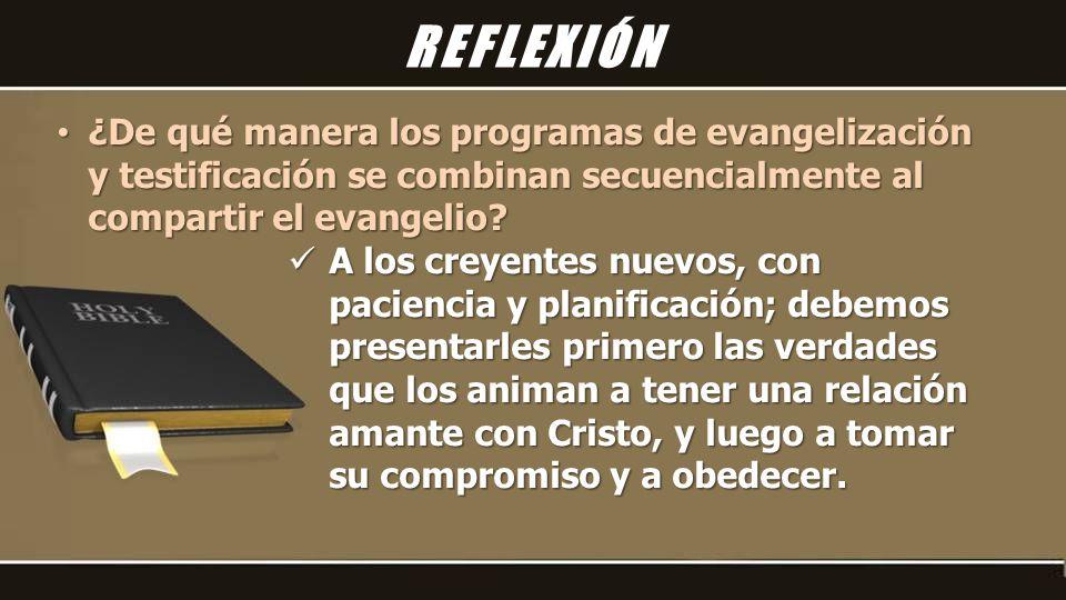 ¿De qué manera los programas de evangelización y testificación se combinan secuencialmente al compartir el evangelio.