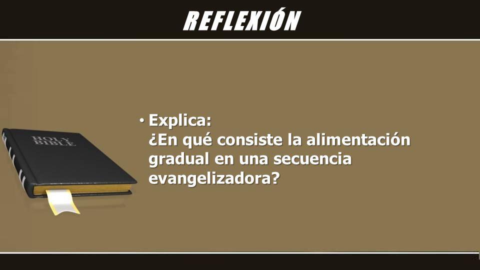Explica: Explica: ¿En qué consiste la alimentación gradual en una secuencia evangelizadora.