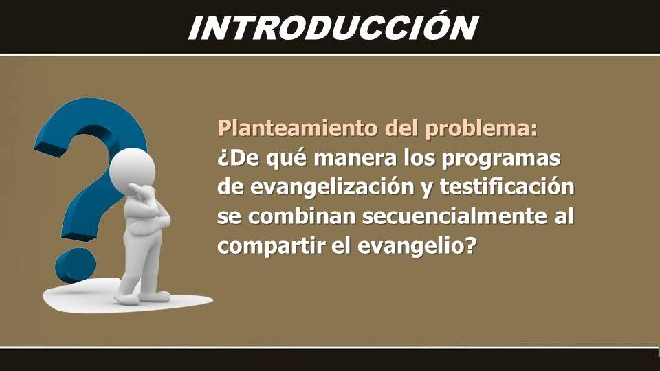 Planteamiento del problema: ¿De qué manera los programas de evangelización y testificación se combinan secuencialmente al compartir el evangelio.