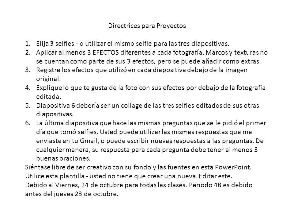 Directrices para Proyectos 1.Elija 3 selfies - o utilizar el mismo selfie para las tres diapositivas.