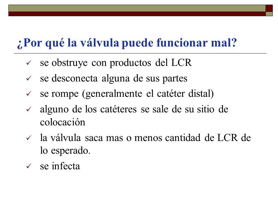 ¿Por qué la válvula puede funcionar mal? se obstruye con productos del LCR se desconecta alguna de sus partes se rompe (generalmente el catéter distal