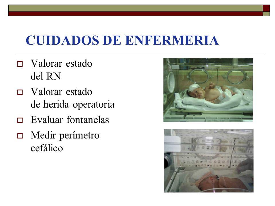 CUIDADOS DE ENFERMERIA  Valorar estado del RN  Valorar estado de herida operatoria  Evaluar fontanelas  Medir perímetro cefálico
