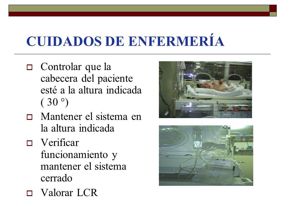 CUIDADOS DE ENFERMERÍA  Controlar que la cabecera del paciente esté a la altura indicada ( 30 °)  Mantener el sistema en la altura indicada  Verifi