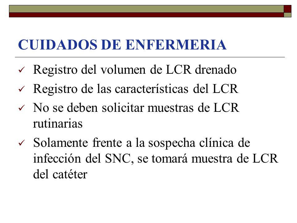 CUIDADOS DE ENFERMERIA Registro del volumen de LCR drenado Registro de las características del LCR No se deben solicitar muestras de LCR rutinarias So