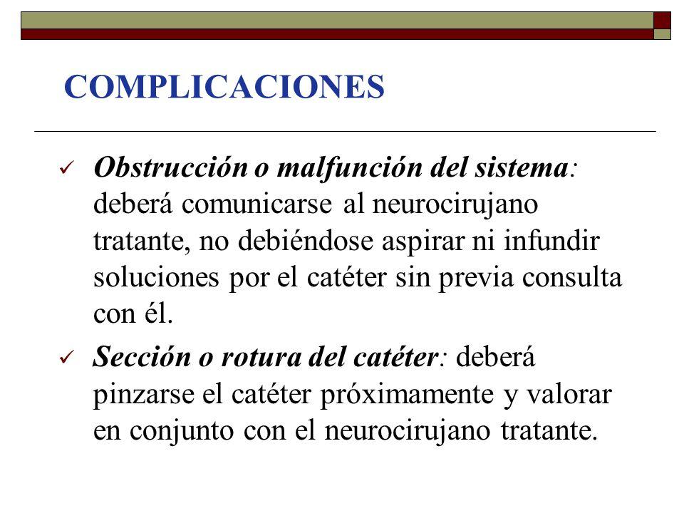 COMPLICACIONES Obstrucción o malfunción del sistema: deberá comunicarse al neurocirujano tratante, no debiéndose aspirar ni infundir soluciones por el