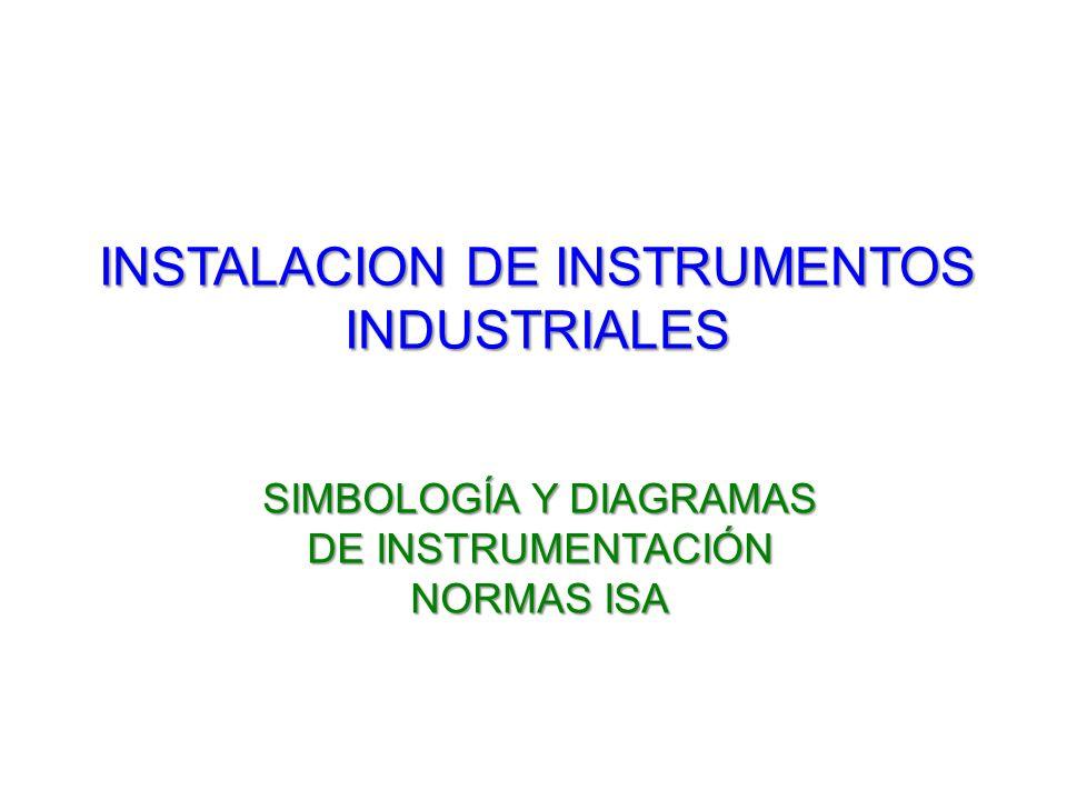 INSTALACION DE INSTRUMENTOS INDUSTRIALES SIMBOLOGÍA Y DIAGRAMAS DE INSTRUMENTACIÓN NORMAS ISA