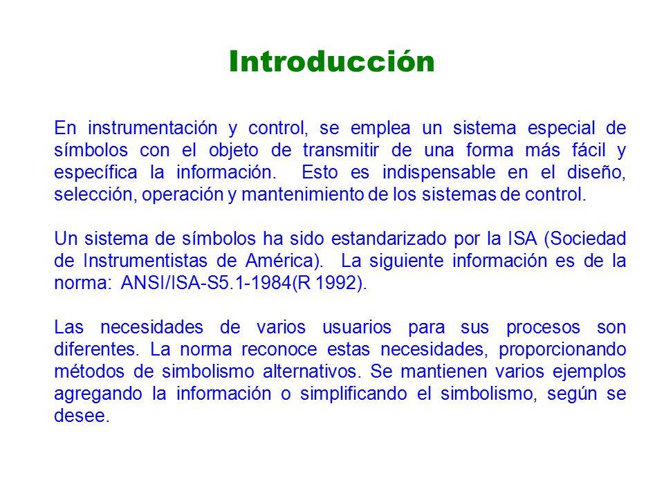 Introducción En instrumentación y control, se emplea un sistema especial de símbolos con el objeto de transmitir de una forma más fácil y específica la información.