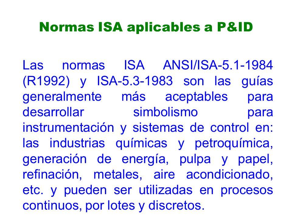 Normas ISA aplicables a P&ID Las normas ISA ANSI/ISA-5.1-1984 (R1992) y ISA-5.3-1983 son las guías generalmente más aceptables para desarrollar simbolismo para instrumentación y sistemas de control en: las industrias químicas y petroquímica, generación de energía, pulpa y papel, refinación, metales, aire acondicionado, etc.