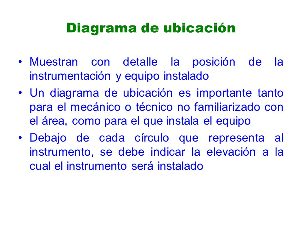 Diagrama de ubicación Muestran con detalle la posición de la instrumentación y equipo instalado Un diagrama de ubicación es importante tanto para el mecánico o técnico no familiarizado con el área, como para el que instala el equipo Debajo de cada círculo que representa al instrumento, se debe indicar la elevación a la cual el instrumento será instalado