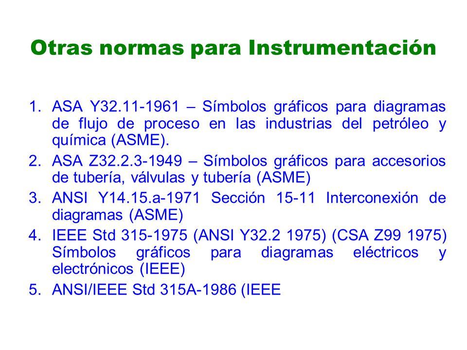 Otras normas para Instrumentación 1.ASA Y32.11-1961 – Símbolos gráficos para diagramas de flujo de proceso en las industrias del petróleo y química (ASME).