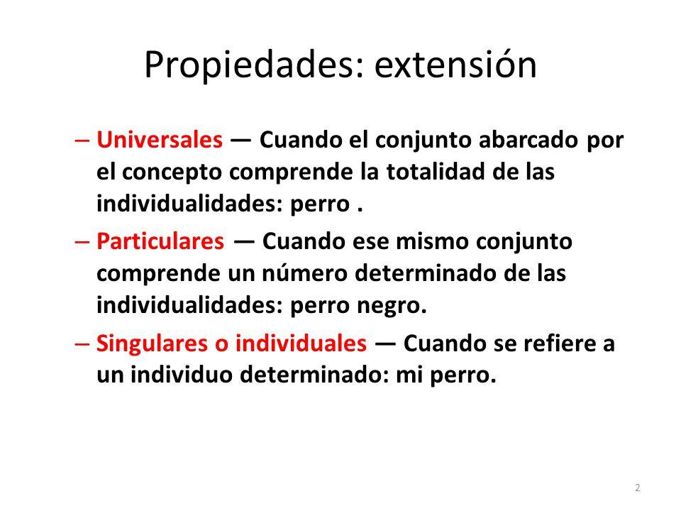Propiedades: extensión – Universales — Cuando el conjunto abarcado por el concepto comprende la totalidad de las individualidades: perro.