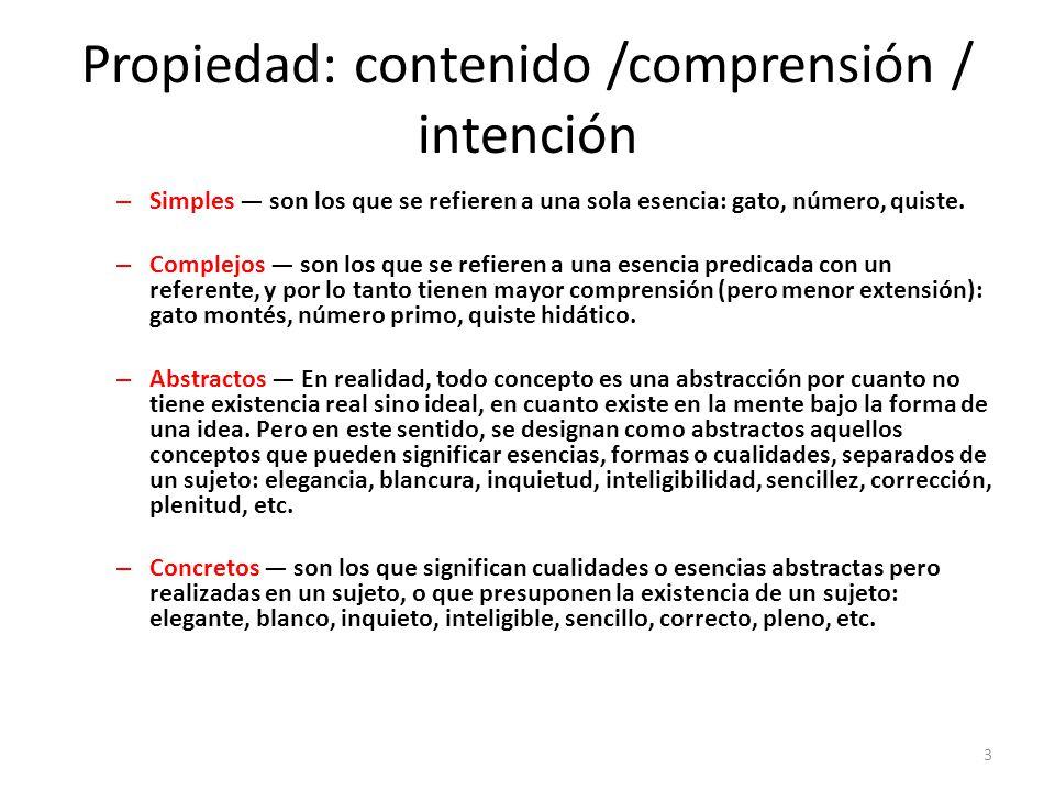 Propiedad: contenido /comprensión / intención – Simples — son los que se refieren a una sola esencia: gato, número, quiste.