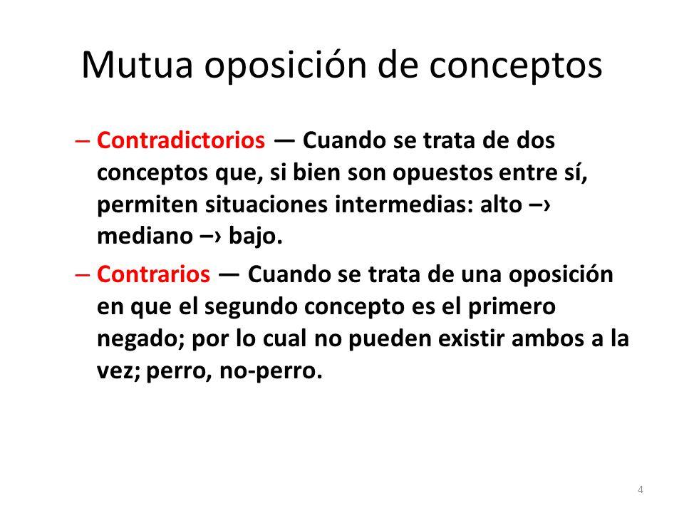 Mutua oposición de conceptos – Contradictorios — Cuando se trata de dos conceptos que, si bien son opuestos entre sí, permiten situaciones intermedias: alto –› mediano –› bajo.