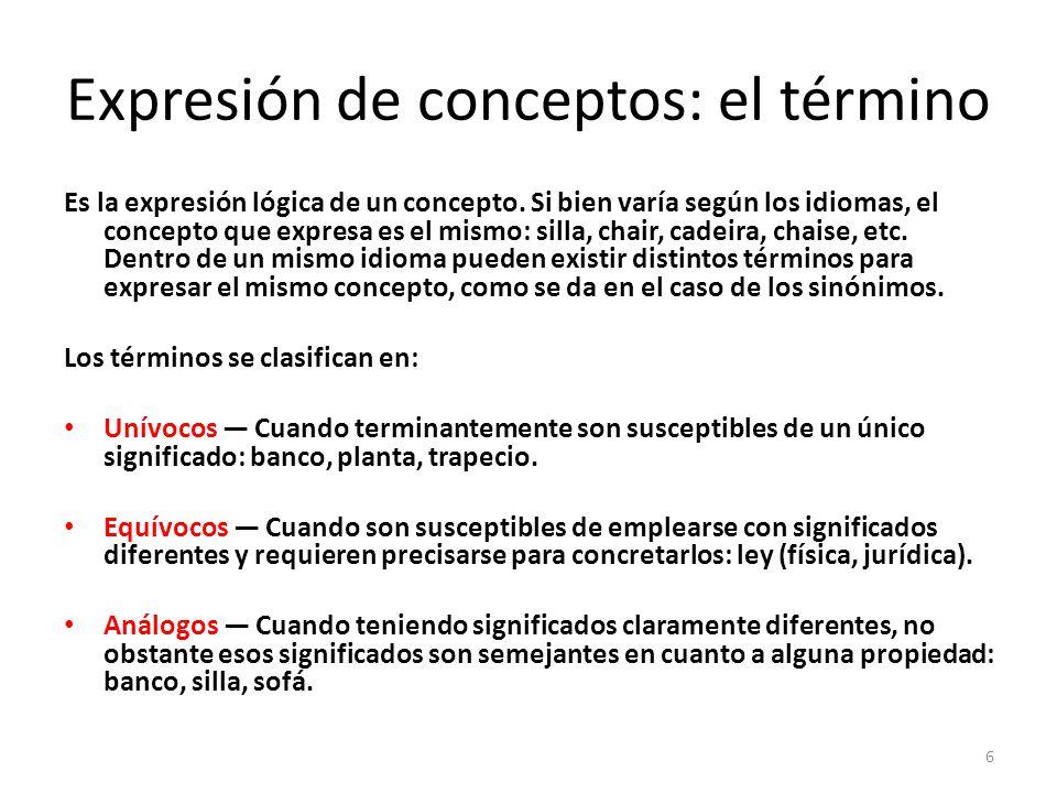 Expresión de conceptos: el término Es la expresión lógica de un concepto.