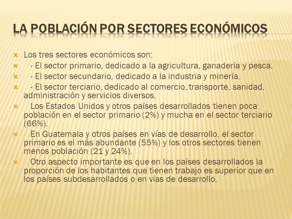  Los tres sectores económicos son:  - El sector primario, dedicado a la agricultura, ganadería y pesca.  - El sector secundario, dedicado a la indu