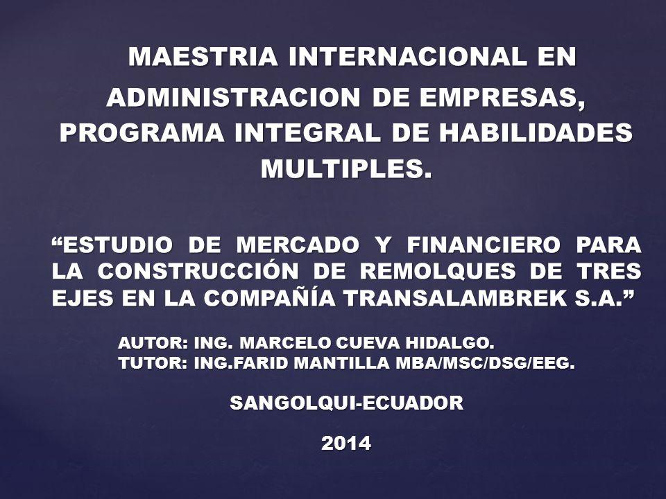 MAESTRIA INTERNACIONAL EN ADMINISTRACION DE EMPRESAS, PROGRAMA INTEGRAL DE HABILIDADES MULTIPLES. MAESTRIA INTERNACIONAL EN ADMINISTRACION DE EMPRESAS