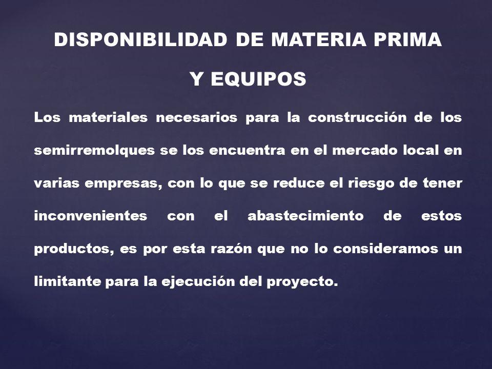 DISPONIBILIDAD DE MATERIA PRIMA Y EQUIPOS Los materiales necesarios para la construcción de los semirremolques se los encuentra en el mercado local en