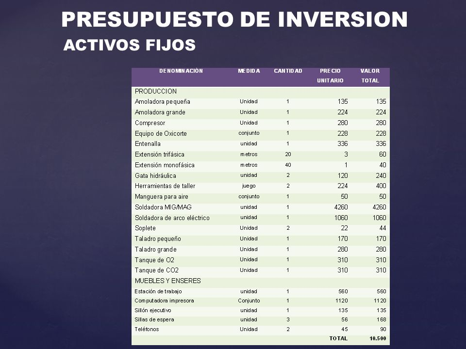 PRESUPUESTO DE INVERSION ACTIVOS FIJOS