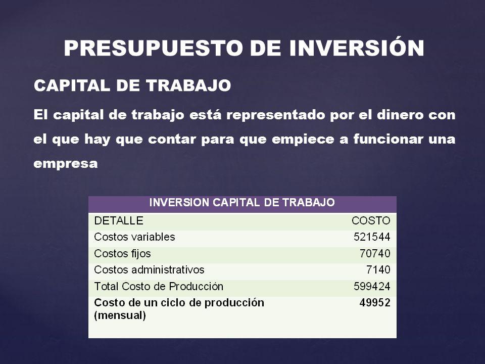 PRESUPUESTO DE INVERSIÓN CAPITAL DE TRABAJO El capital de trabajo está representado por el dinero con el que hay que contar para que empiece a funcionar una empresa