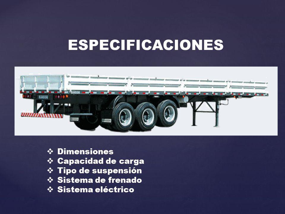 ESPECIFICACIONES  Dimensiones  Capacidad de carga  Tipo de suspensión  Sistema de frenado  Sistema eléctrico