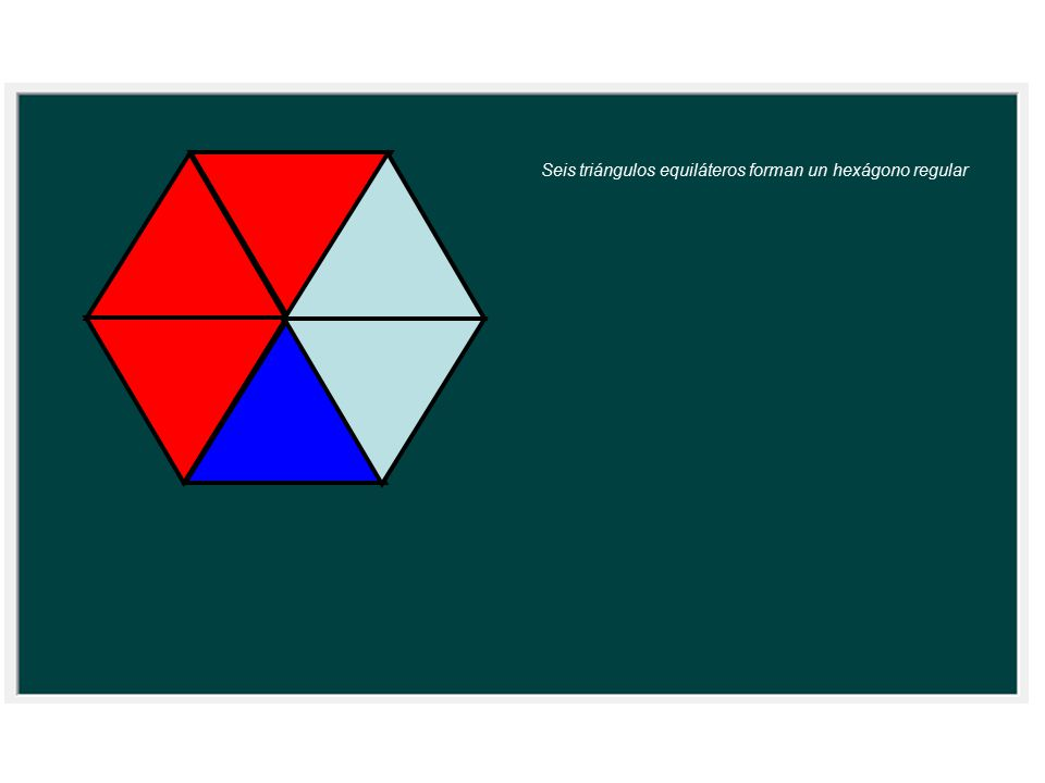 Seis triángulos equiláteros forman un hexágono regular