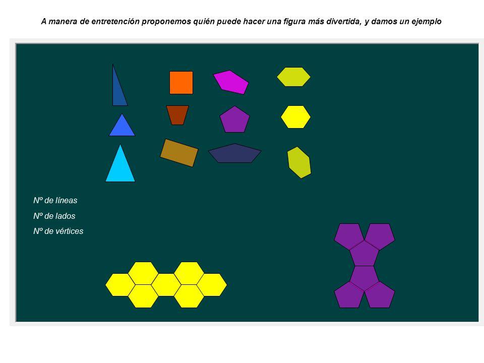 Nº de líneas Nº de lados Nº de vértices A manera de entretención proponemos quién puede hacer una figura más divertida, y damos un ejemplo
