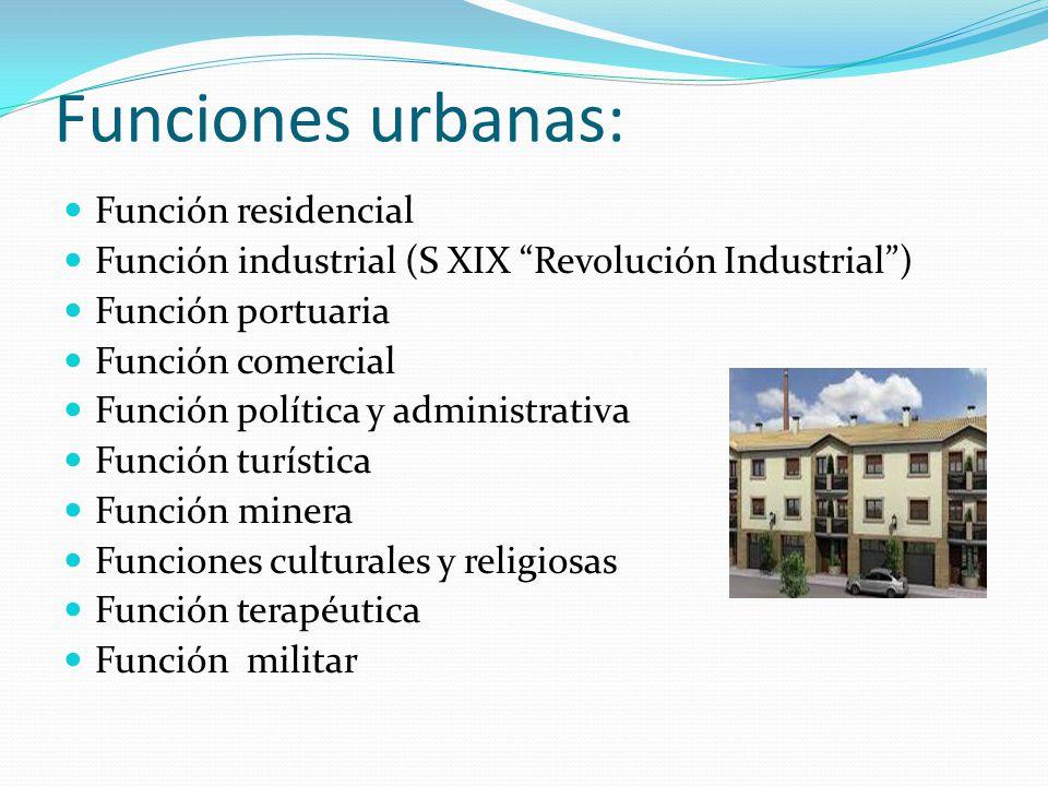 """Funciones urbanas: Función residencial Función industrial (S XIX """"Revolución Industrial"""") Función portuaria Función comercial Función política y admin"""
