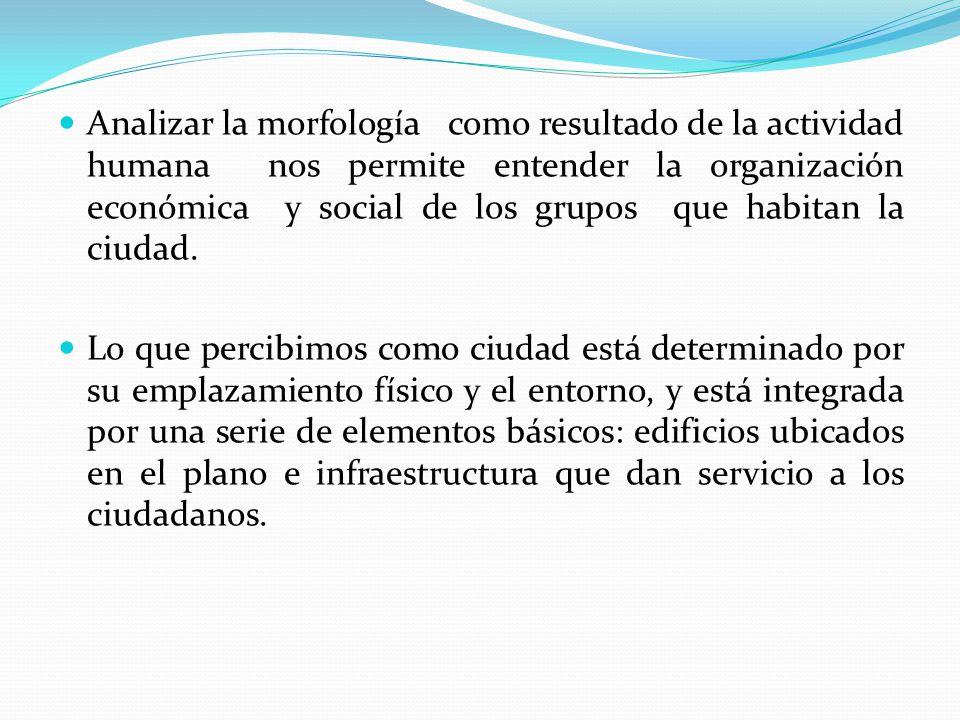 Analizar la morfología como resultado de la actividad humana nos permite entender la organización económica y social de los grupos que habitan la ciud