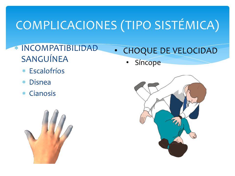  INCOMPATIBILIDAD SANGUÍNEA  Escalofríos  Disnea  Cianosis COMPLICACIONES (TIPO SISTÉMICA) CHOQUE DE VELOCIDAD Síncope