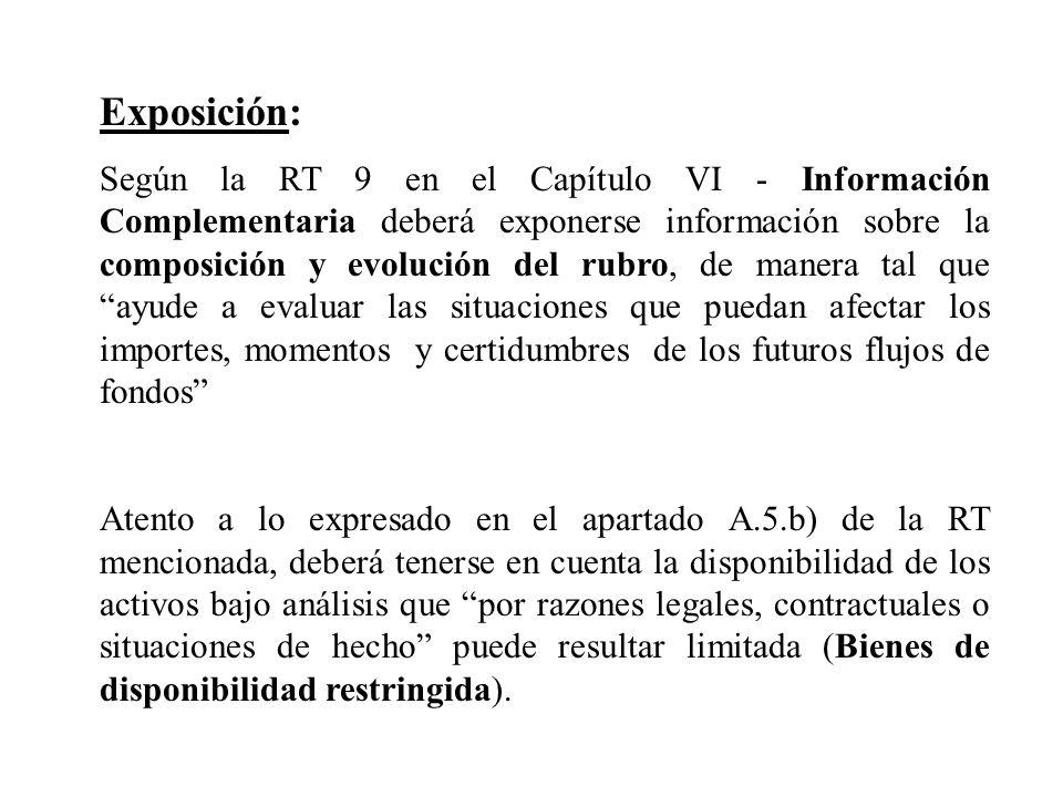 Exposición: Según la RT 9 en el Capítulo VI - Información Complementaria deberá exponerse información sobre la composición y evolución del rubro, de m