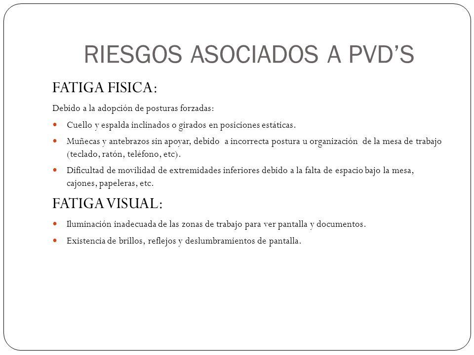 RIESGOS ASOCIADOS A PVD'S FATIGA FISICA: Debido a la adopción de posturas forzadas: Cuello y espalda inclinados o girados en posiciones estáticas.