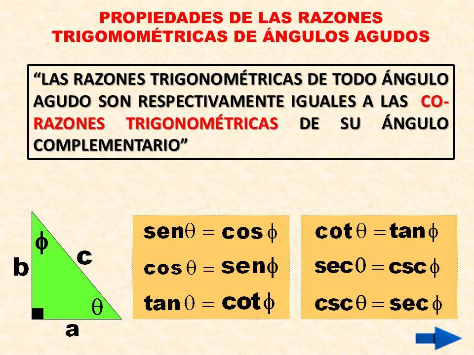 PROPIEDADES DE LAS RAZONES TRIGOMOMÉTRICAS DE ÁNGULOS AGUDOS LAS RAZONES TRIGONOMÉTRICAS DE TODO ÁNGULO AGUDO SON RESPECTIVAMENTE IGUALES A LAS CO- RAZONES TRIGONOMÉTRICAS DE SU ÁNGULO COMPLEMENTARIO
