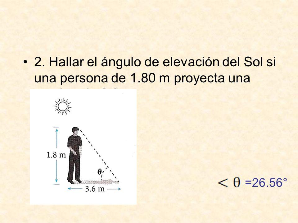 2.Hallar el ángulo de elevación del Sol si una persona de 1.80 m proyecta una sombra de 3.6 m.