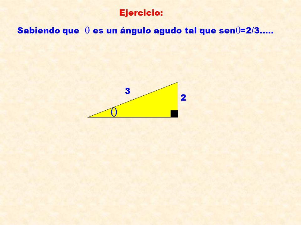 Ejercicio: Sabiendo que  es un ángulo agudo tal que sen  =2/3..... 2 3