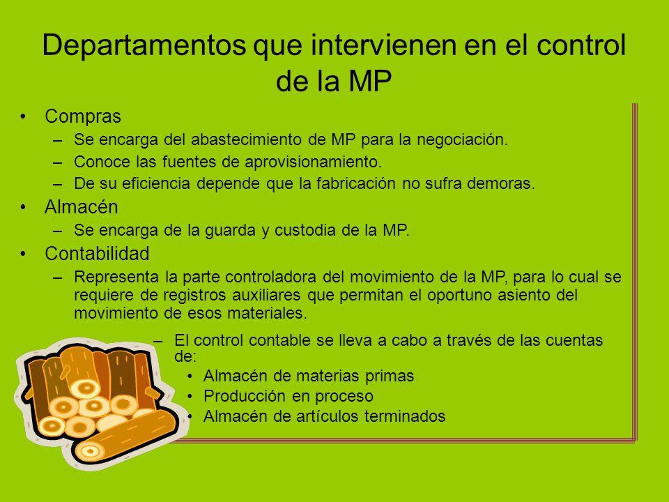 Departamentos que intervienen en el control de la MP Compras –Se encarga del abastecimiento de MP para la negociación. –Conoce las fuentes de aprovisi