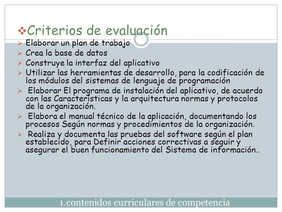 1.contenidos curriculares de competencia  Criterios de evaluación  Elaborar un plan de trabajo  Crea la base de datos  Construye la interfaz del a