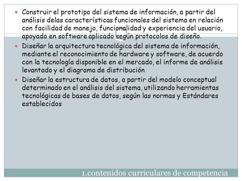 1.contenidos curriculares de competencia Construir el prototipo del sistema de información, a partir del análisis delas características funcionales de