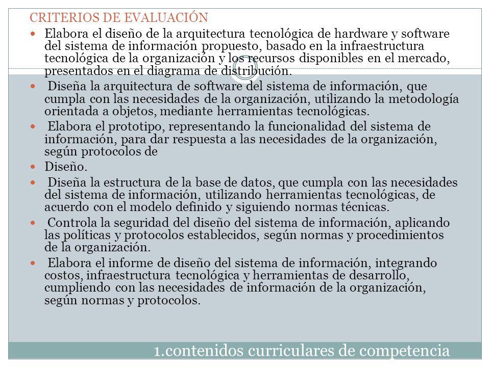 1.contenidos curriculares de competencia CRITERIOS DE EVALUACIÓN Elabora el diseño de la arquitectura tecnológica de hardware y software del sistema d