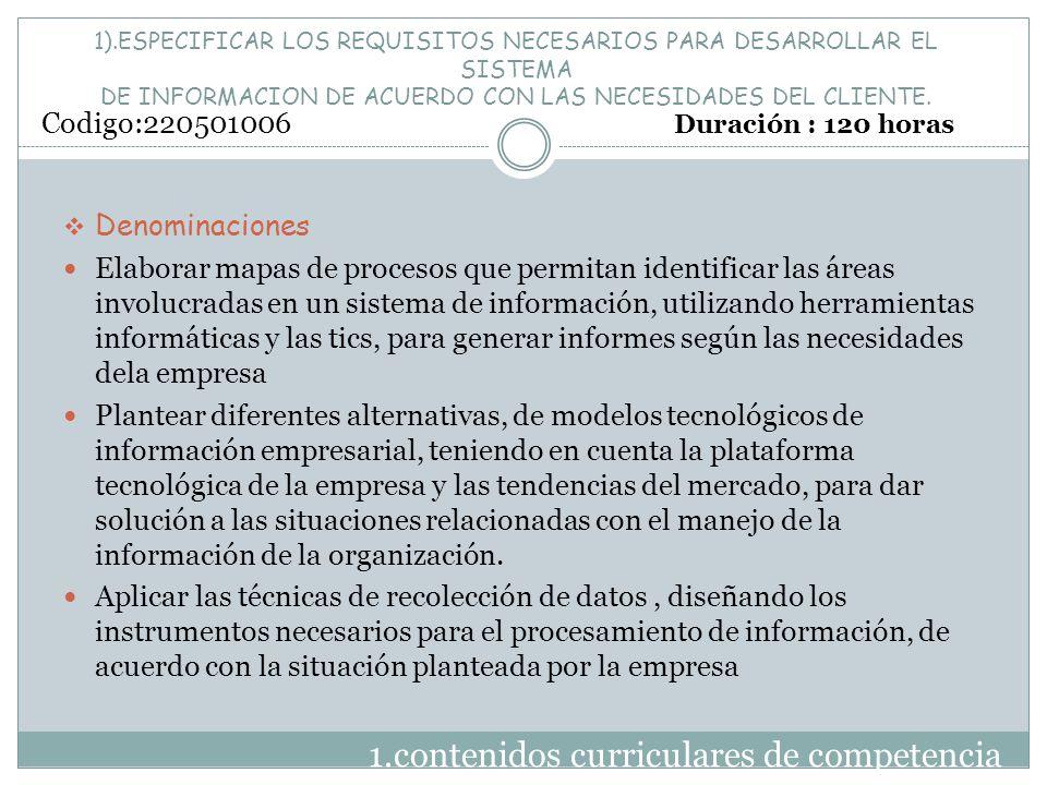 1).ESPECIFICAR LOS REQUISITOS NECESARIOS PARA DESARROLLAR EL SISTEMA DE INFORMACION DE ACUERDO CON LAS NECESIDADES DEL CLIENTE. 1.contenidos curricula